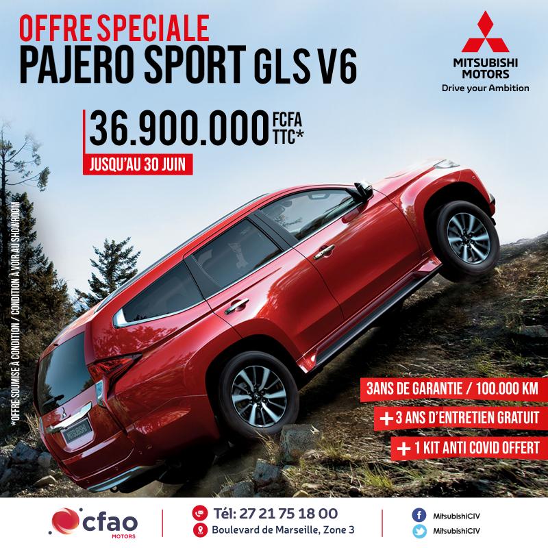 Offre spéciale : PAJERO SPORT GLS V6 à 36 900 000 FCFA TTC + 3 ans d'entretien gratuit
